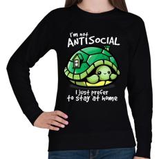 PRINTFASHION Antiszoci teknős - Női pulóver - Fekete