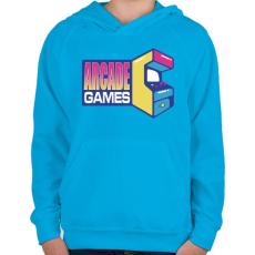 PRINTFASHION Arcade Games - Gyerek kapucnis pulóver - Azúrkék