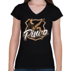 PRINTFASHION Army legs - Női V-nyakú póló - Fekete