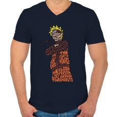 PRINTFASHION Árnyék nindzsa - Férfi V-nyakú póló - Sötétkék