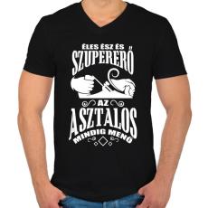 PRINTFASHION Asztalos - Férfi V-nyakú póló - Fekete