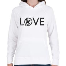 PRINTFASHION Az éhezők viadala - Női kapucnis pulóver - Fehér
