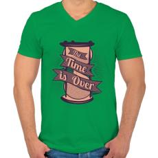 PRINTFASHION Az idő lejárt - Férfi V-nyakú póló - Zöld