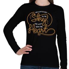 PRINTFASHION Az út nem az égben van, hanem a szívben - Női hosszú ujjú póló - Fekete