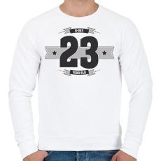PRINTFASHION b-day-23-dark-lightgrey - Férfi pulóver - Fehér