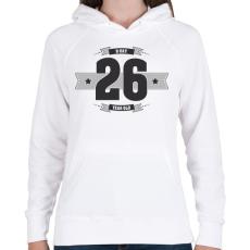 PRINTFASHION b-day-26-dark-lightgrey - Női kapucnis pulóver - Fehér