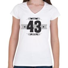PRINTFASHION b-day-43-dark-lightgrey - Női V-nyakú póló - Fehér