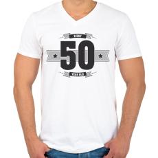 PRINTFASHION b-day-50-dark-lightgrey - Férfi V-nyakú póló - Fehér
