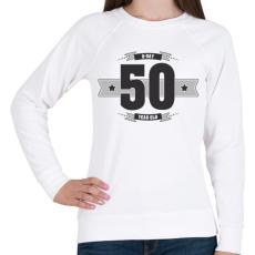 PRINTFASHION b-day-50-dark-lightgrey - Női pulóver - Fehér