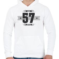 PRINTFASHION b-day-57-dark-lightgrey - Férfi kapucnis pulóver - Fehér
