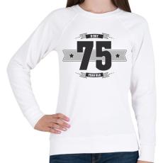 PRINTFASHION b-day-75-dark-lightgrey - Női pulóver - Fehér