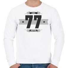 PRINTFASHION b-day-77-dark-lightgrey - Férfi pulóver - Fehér