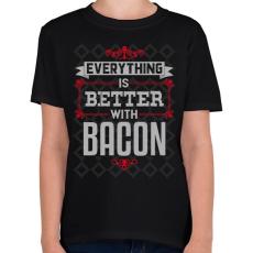 PRINTFASHION Bacon - Gyerek póló - Fekete