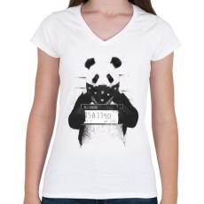 PRINTFASHION Bad panda - Női V-nyakú póló - Fehér