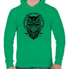 PRINTFASHION Bagoly - Férfi kapucnis pulóver - Zöld