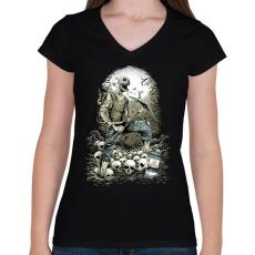 PRINTFASHION Bányászhalál - Női V-nyakú póló - Fekete