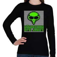 PRINTFASHION bármikor UFO jöhet - Női hosszú ujjú póló - Fekete