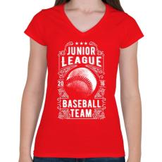 PRINTFASHION Baseball csapat - Női V-nyakú póló - Piros