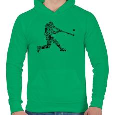 PRINTFASHION Baseball játékos - Férfi kapucnis pulóver - Zöld