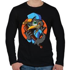 PRINTFASHION Baseball madár - Férfi hosszú ujjú póló - Fekete