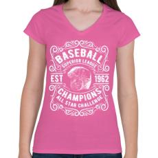 PRINTFASHION Baseball Szuper bajnokság - Női V-nyakú póló - Rózsaszín