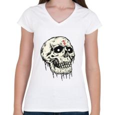 PRINTFASHION Beast Design Skull - Női V-nyakú póló - Fehér