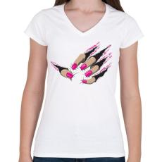 PRINTFASHION Beast nails - Női V-nyakú póló - Fehér