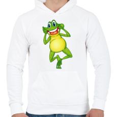 PRINTFASHION Béka - Férfi kapucnis pulóver - Fehér