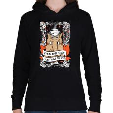 PRINTFASHION Belső béke - Női kapucnis pulóver - Fekete