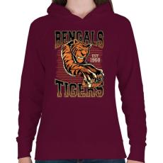 PRINTFASHION Bengáli tigris - Női kapucnis pulóver - Bordó
