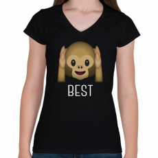 PRINTFASHION Best Friends - Monkey 1 - Női V-nyakú póló - Fekete