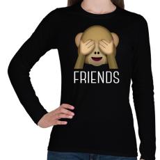 PRINTFASHION Best Friends - Monkey 2 - Női hosszú ujjú póló - Fekete