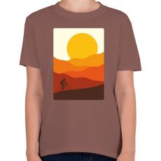 PRINTFASHION Biciklizés a hegyekben - Gyerek póló - Mogyoróbarna