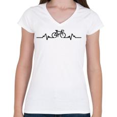 PRINTFASHION BIKE - Női V-nyakú póló - Fehér