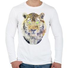 PRINTFASHION Biometrikus tigris - Férfi hosszú ujjú póló - Fehér