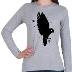 PRINTFASHION Black Bird - Női hosszú ujjú póló - Sport szürke