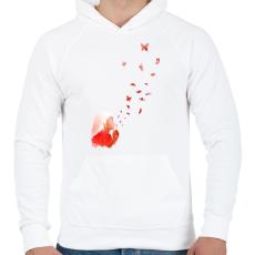 PRINTFASHION Blowing butterflies - Férfi kapucnis pulóver - Fehér