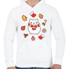 PRINTFASHION Boldog jegesmedve karácsonya - Férfi kapucnis pulóver - Fehér