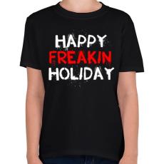 PRINTFASHION Boldog kiba**ott ünnepeket - Gyerek póló - Fekete