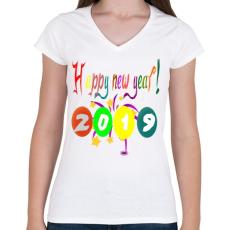 PRINTFASHION Boldog újévet1 - Női V-nyakú póló - Fehér