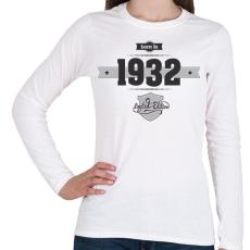 PRINTFASHION Born in 1932 (Dark&Lightgrey) - Női hosszú ujjú póló - Fehér