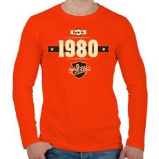 PRINTFASHION born-in-1980-cream-choco - Férfi hosszú ujjú póló - Narancs