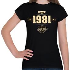 PRINTFASHION born-in-1981-cream-choco - Női póló - Fekete