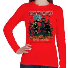 PRINTFASHION Boszorkányégetés - Női hosszú ujjú póló - Piros