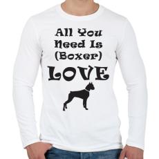 PRINTFASHION Boxer Love - Férfi hosszú ujjú póló - Fehér