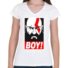 PRINTFASHION Boy - Női V-nyakú póló - Fehér