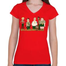 PRINTFASHION Brickleberry - Női V-nyakú póló - Piros