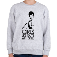 PRINTFASHION Bruce Lee - Gyerek pulóver - Sport szürke