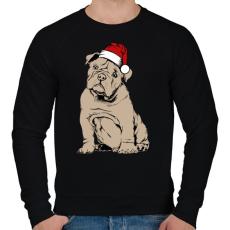PRINTFASHION Bulldog karácsony - Férfi pulóver - Fekete
