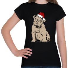 PRINTFASHION Bulldog karácsony - Női póló - Fekete